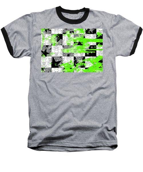 Green Checker Skull Splatter Baseball T-Shirt