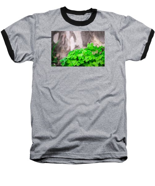 Baseball T-Shirt featuring the photograph Green Clover And Grey Tree by John Williams