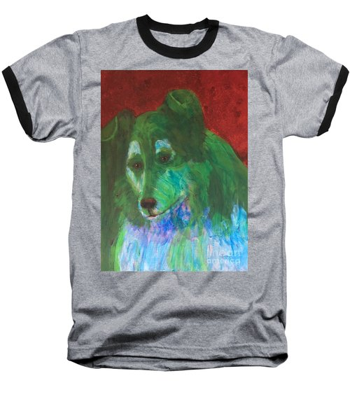 Baseball T-Shirt featuring the painting Green Collie by Donald J Ryker III