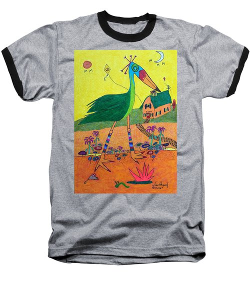 Green Crane With Leggings And Painted Toes Baseball T-Shirt