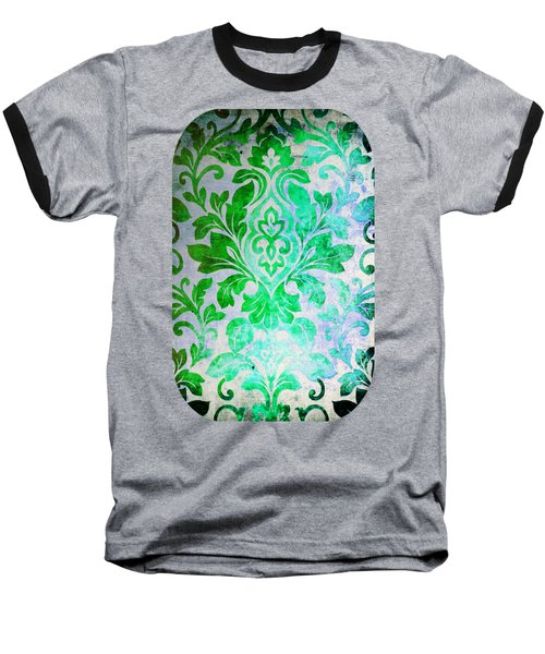 Green Damask Pattern Baseball T-Shirt