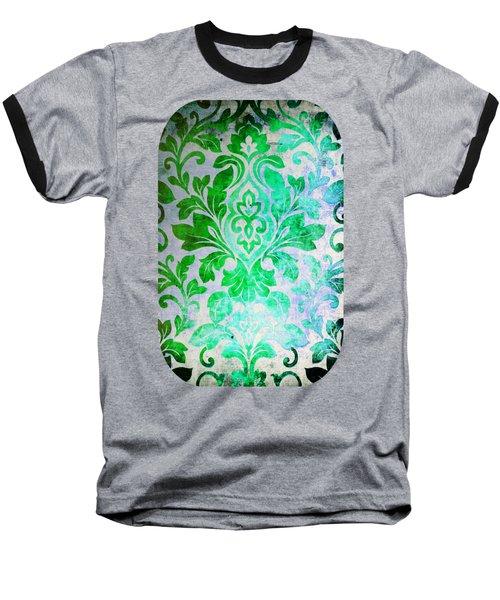 Green Damask Pattern Baseball T-Shirt
