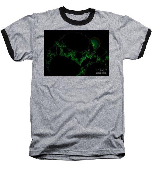 Green Darkness Galaxy Fractal  Baseball T-Shirt