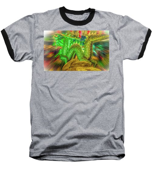 Green Dragon Baseball T-Shirt by Mark Dunton