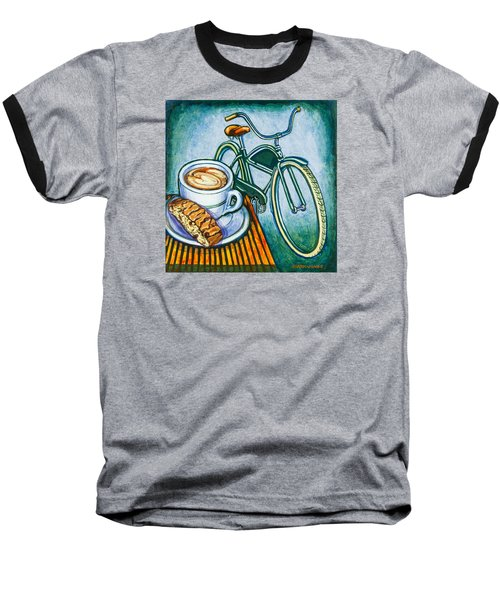 Green Electra Delivery Bicycle Coffee And Biscotti Baseball T-Shirt by Mark Jones