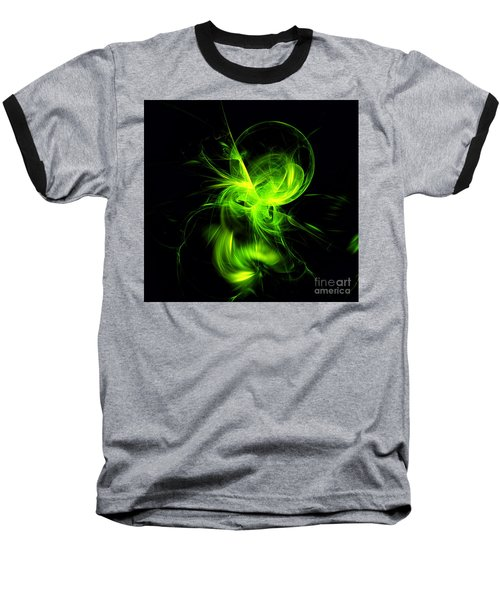 Green Flame Fractal Baseball T-Shirt