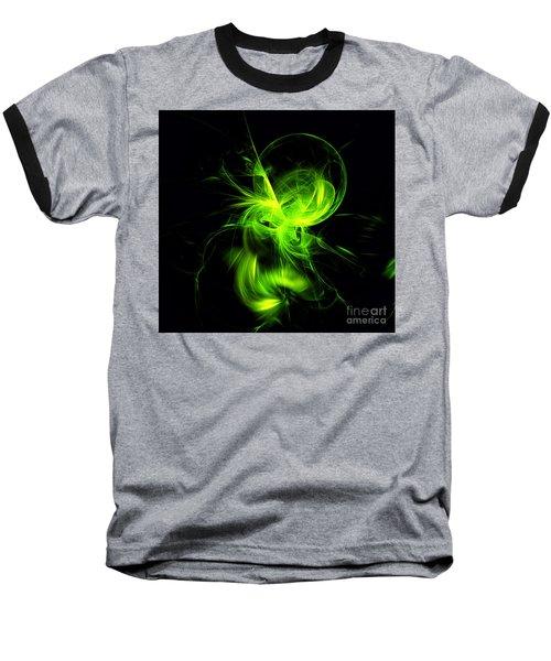 Green Flame Fractal Baseball T-Shirt
