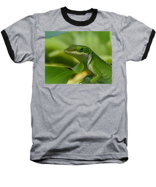 Green Gecko On Green Leaves Baseball T-Shirt