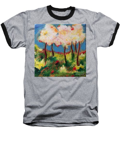 Baseball T-Shirt featuring the painting Green Glade by Elizabeth Fontaine-Barr