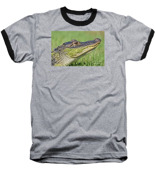 Baseball T-Shirt featuring the photograph Green Grin  by Kathy Gibbons