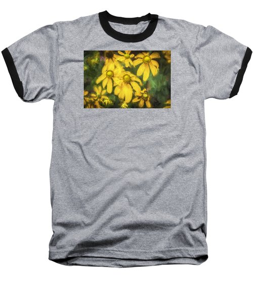 Green Headed Coneflowers Painted Baseball T-Shirt by Rich Franco
