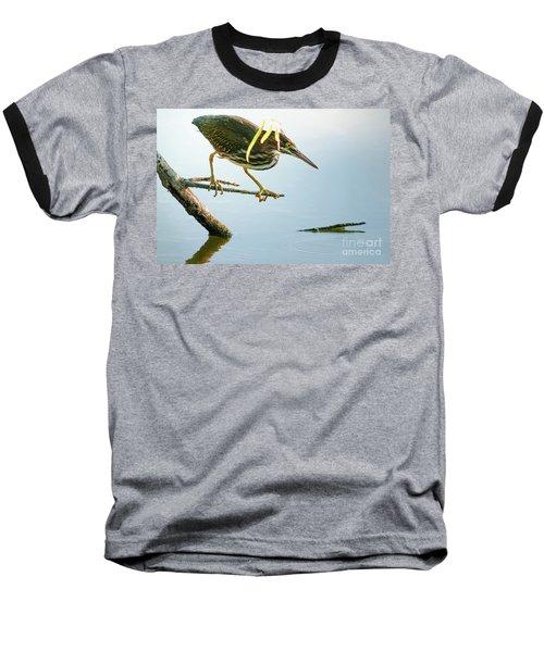 Green Heron Sees Minnow Baseball T-Shirt by Robert Frederick