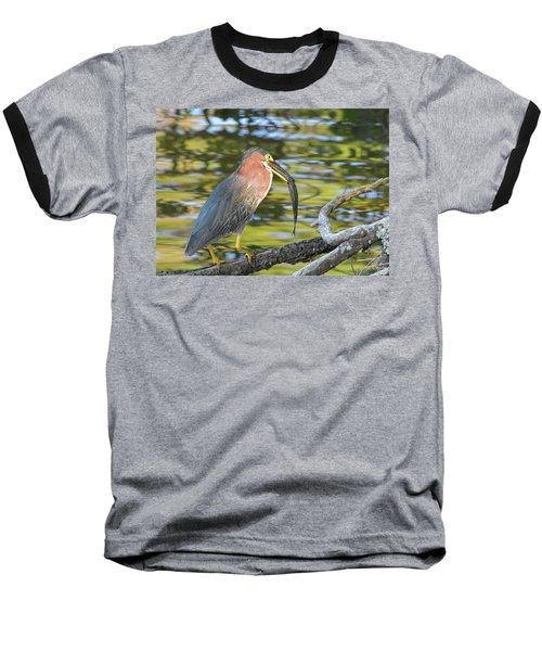 Green Heron With Fish Baseball T-Shirt