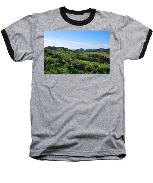 Baseball T-Shirt featuring the photograph Green Hills Landscape With Cactus by Matt Harang
