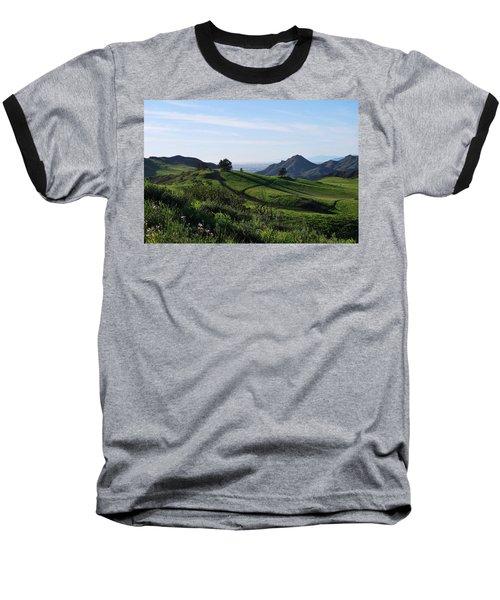 Baseball T-Shirt featuring the photograph Green Hills Purple Flowers Foreground  by Matt Harang