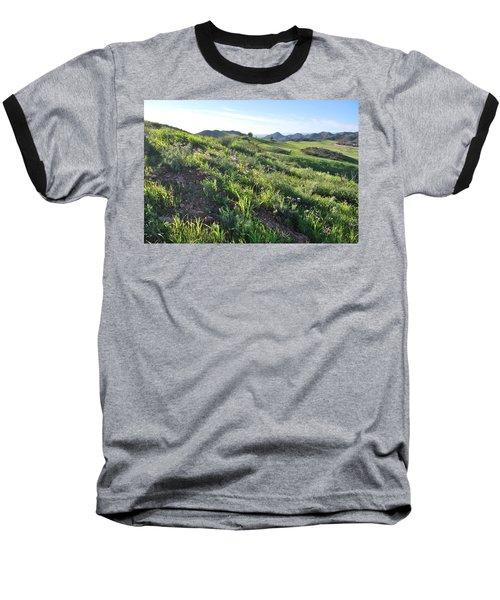 Baseball T-Shirt featuring the photograph Green Hills Purple Flowers - Rocky View by Matt Harang