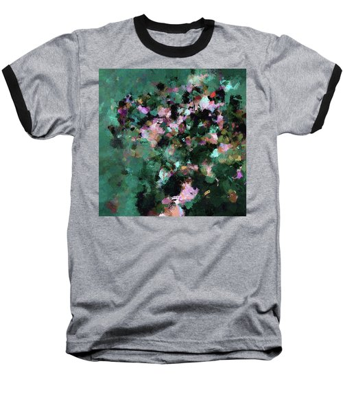 Baseball T-Shirt featuring the painting Green Landscape Painting In Minimalist And Abstract Style by Ayse Deniz