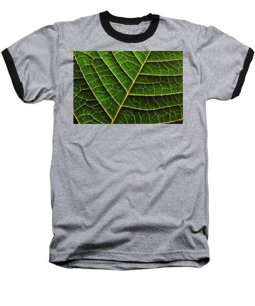 Green Leaf Macro Baseball T-Shirt