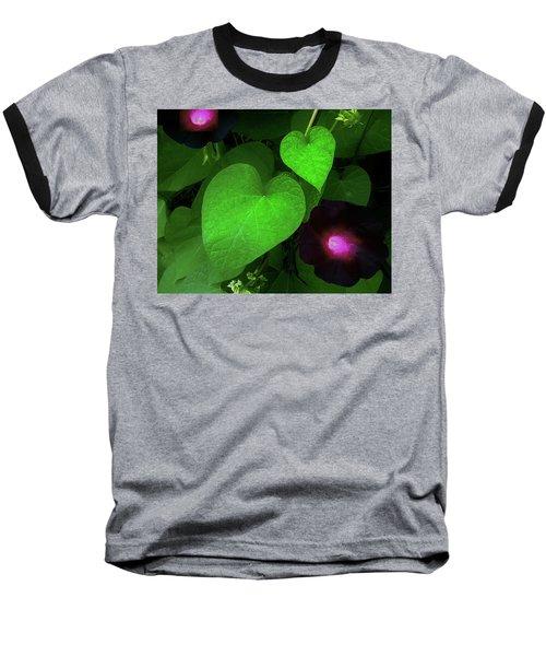 Green Leaf Violet Glow Baseball T-Shirt