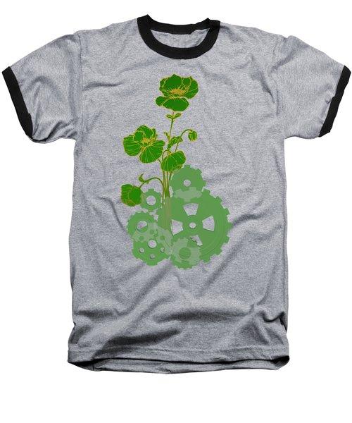 Green Mechanical Flowers Baseball T-Shirt