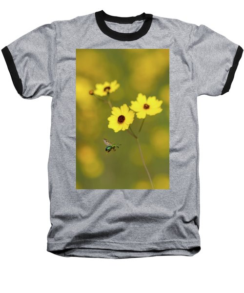 Green Metallic Bee Baseball T-Shirt