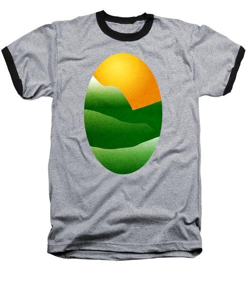 Green Mountain Sunrise Landscape Art Baseball T-Shirt