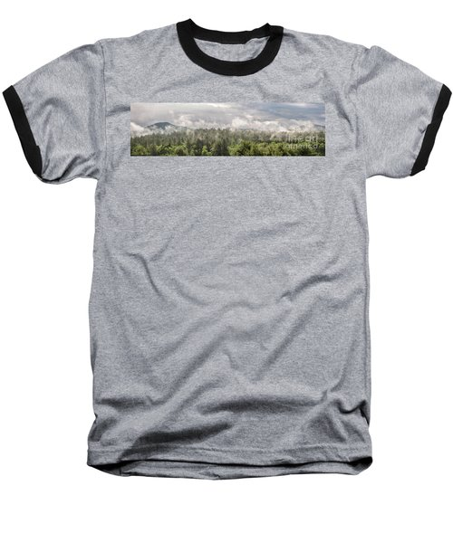 Green Mountains Fog Panoramic Baseball T-Shirt