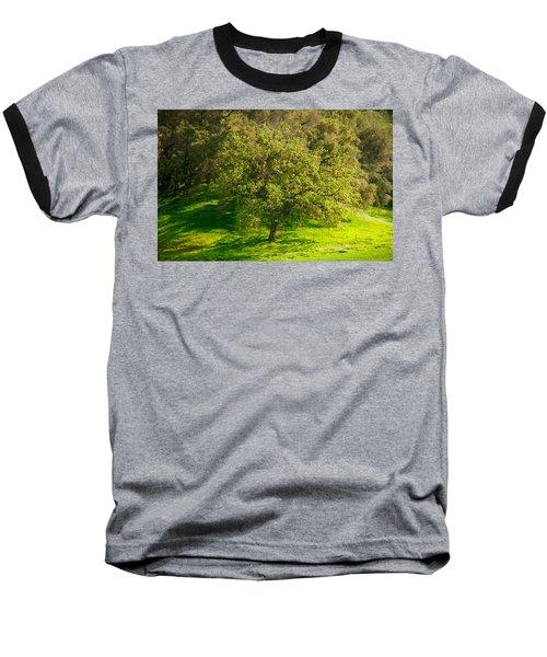 Green Oak Tree And Grasses Baseball T-Shirt