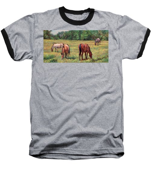 Green Pastures - Horses Grazing In A Field Baseball T-Shirt by Bonnie Mason