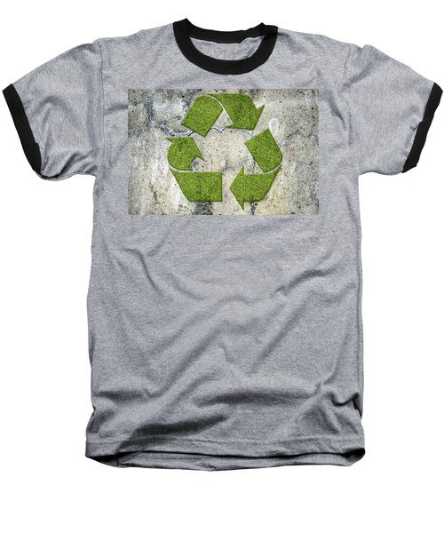 Green Recycling Sign On A Concrete Wall Baseball T-Shirt by GoodMood Art