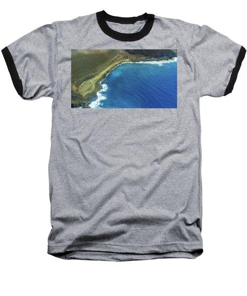 Green Sand Beach Aerial Baseball T-Shirt