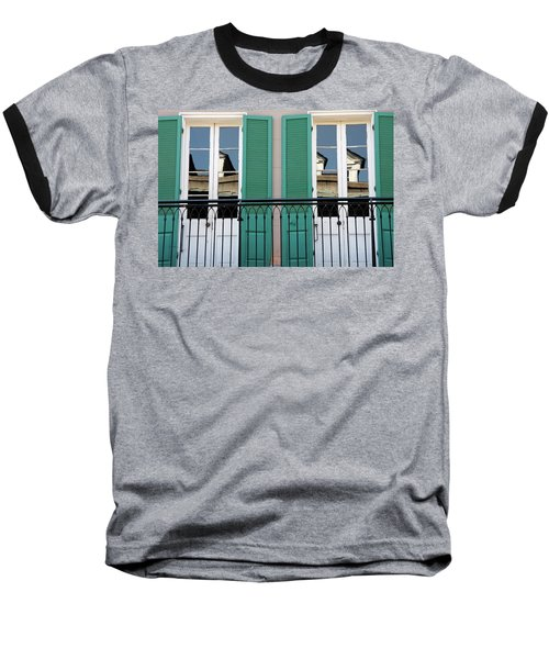 Baseball T-Shirt featuring the photograph Green Shutters Reflections by KG Thienemann