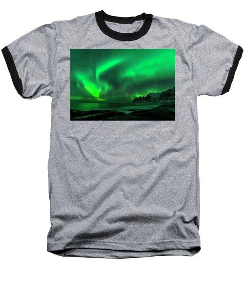 Green Skies At Night Baseball T-Shirt