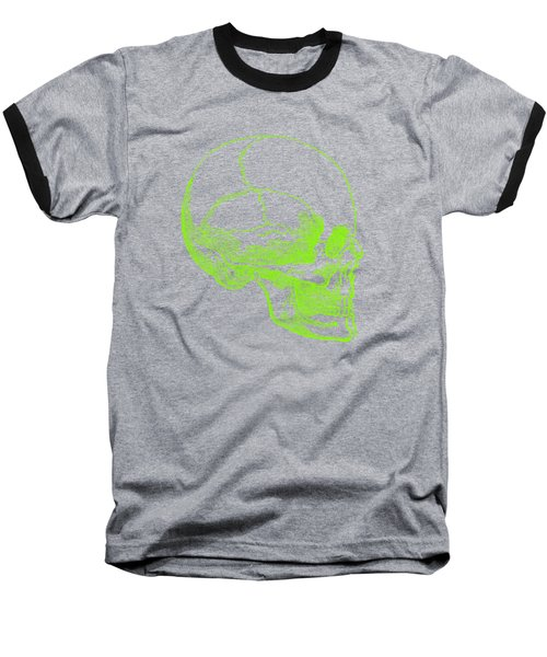 Baseball T-Shirt featuring the digital art Green Skull by Jennifer Hotai