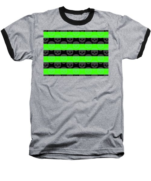 Green Skull Stripes Baseball T-Shirt
