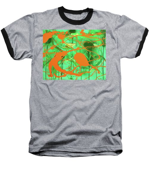 Baseball T-Shirt featuring the painting Green Spill by Thomas Blood