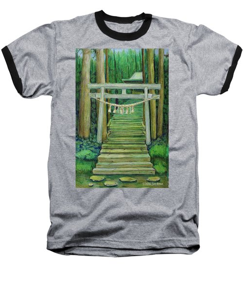 Green Stairway Baseball T-Shirt by Tim Ernst
