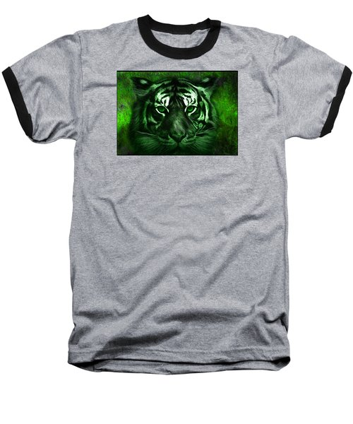 Baseball T-Shirt featuring the painting Green Tiger by Michael Cleere