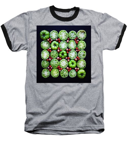 Green Tomato Slice Pattern Baseball T-Shirt