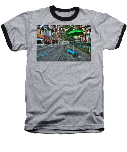 Green Umbrella Bus Stop Baseball T-Shirt