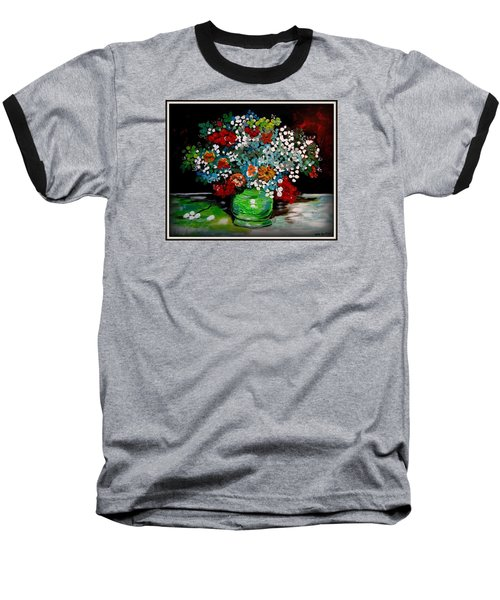 Green Vase With Flowers Baseball T-Shirt