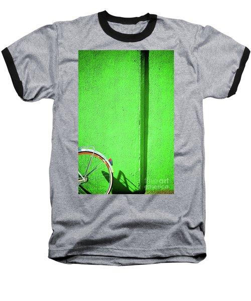 Baseball T-Shirt featuring the photograph Green Wall And Bicycle Wheel by Silvia Ganora