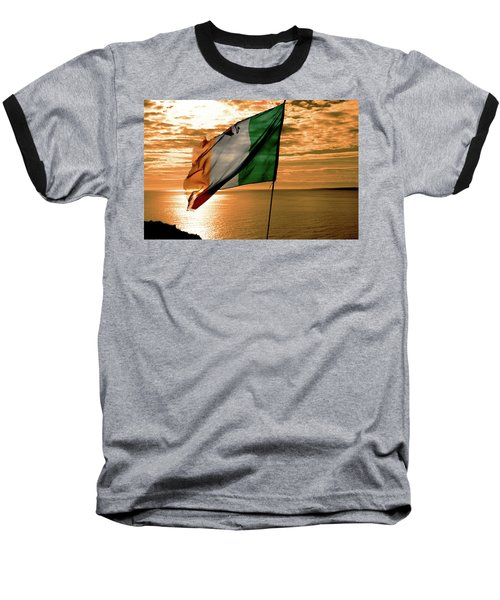 Flag Of Ireland At The Cliffs Of Moher Baseball T-Shirt