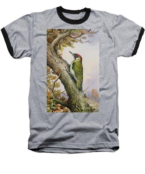 Green Woodpecker Baseball T-Shirt by Carl Donner