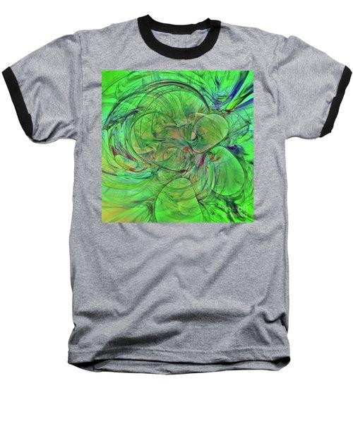 Baseball T-Shirt featuring the digital art Green World Abstract by Deborah Benoit