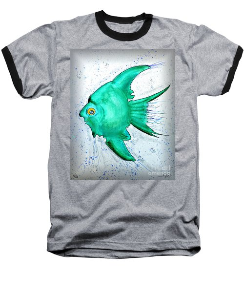 Baseball T-Shirt featuring the mixed media Greenfish by Walt Foegelle