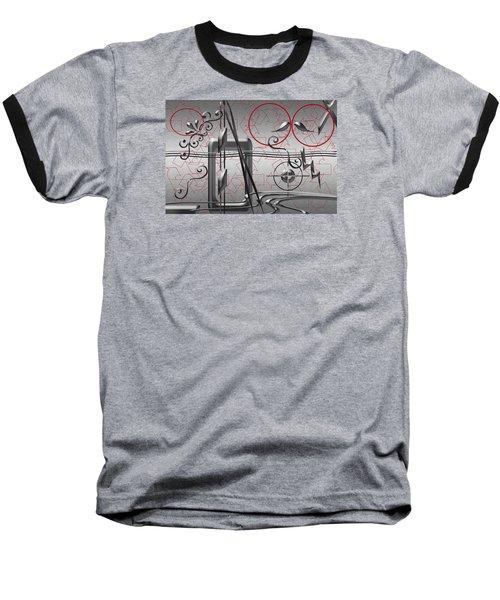 Grey And Red Circles Baseball T-Shirt by Tina M Wenger