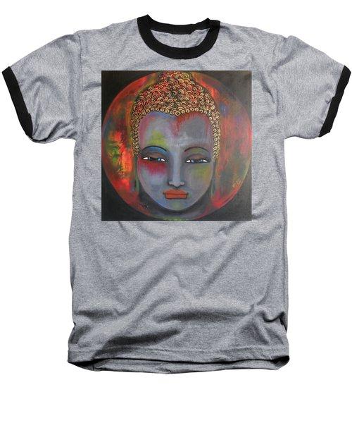 Grey Buddha In A Circular Background Baseball T-Shirt by Prerna Poojara