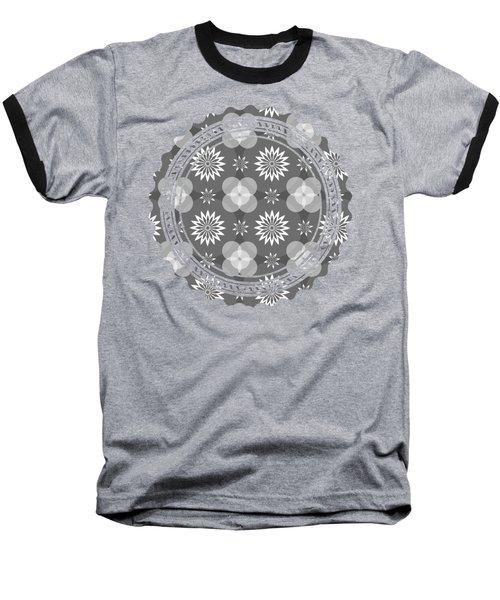 Grey Circles And Flowers Pattern Baseball T-Shirt
