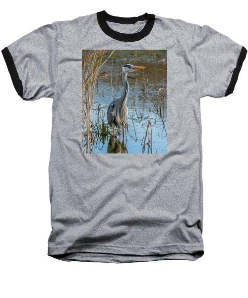 Grey Heron Hunting Baseball T-Shirt
